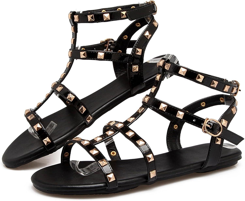 ZHOUZJ Flat Sandals Rivet T-Strap Women Sandals Superstar shoes Summer Beach shoes Woman