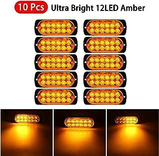 Luixxuer 10pcs Emergency Strobe Lamps 12-LED Surface Mount Flashing Lights for Truck Car Vehicle LED Head Emergency Beacon Hazard Warning light 12V-24V Universal Car Accessories, Amber
