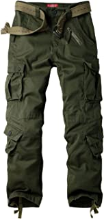 Raroauf Women's Cotton Casual Military Army Cargo Combat Work Pants with 8 Pocket