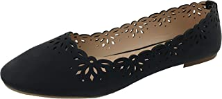 Emily Ballet Flats Laser Cut Outs Scalloped Edge Slip-On Close Toe Shoes