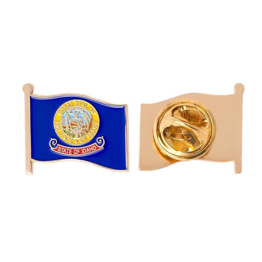 Idaho ID State Flag Lapel Pin Enamel Made of Metal Souvenir Hat Men Women Patriotic (Waving Flag Lapel Pin)