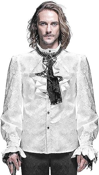 Devil Fashion Gótico para Hombre Camiseta Blanco Steampunk Regency Aristocrat + Pañuelo