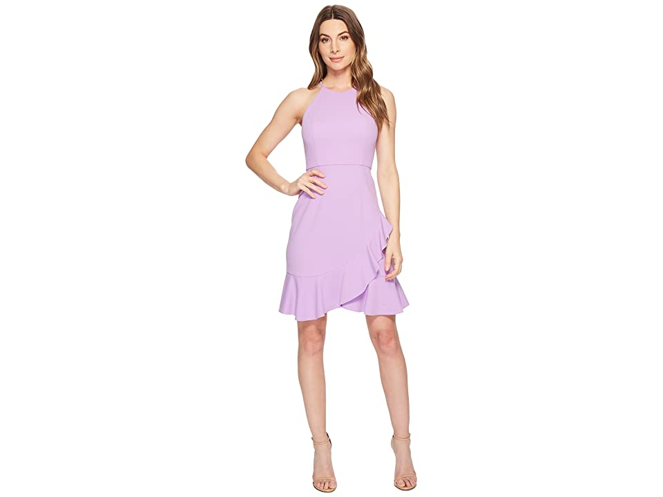 Donna Morgan Crepe Halter Dress with Ruffle Skirt (Lavender) Women