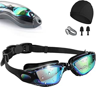 Swim Goggles,[Anti Fog/UV Resistant] Wide Clear Vision Swimming Goggles for adults Men Women,Bright Color Plated Swimming ...