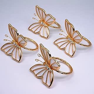 BJ Decor Napkin Rings Set of 4,Gold Butterfly Napkin Rings Napkin Holders for Wedding Banquet Dinner Decor Favor Tabletop Adornment Holder Table Décoration