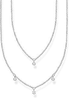 Thomas Sabo Collar doble para mujer con piedras blancas de plata de ley 925, 40-45 cm de longitud