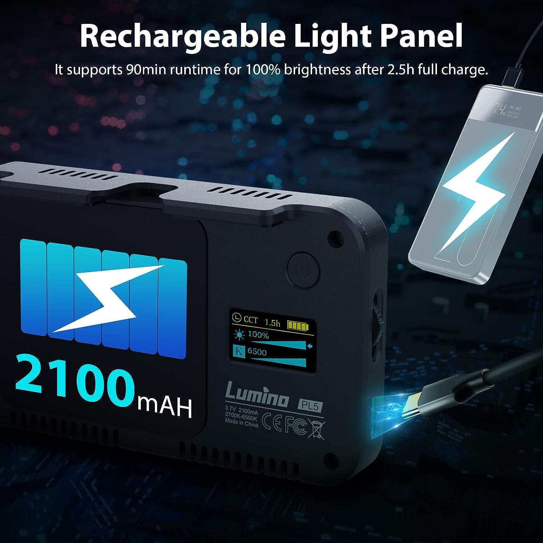 Batterie Rechargeable pour Photographie Vid/éo Youtube Diffusion en Direct MOMAN LUMINO PL5 Panneau LED pour Smartphone Camera avec 2700K-6500K Bicolore Dimmable CRI 95 LED Lumi/ère Vid/éo