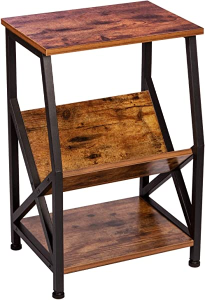 IRONCK End Tables Living Room Nightstand Side Table With Storage Shelf Wood Look Accent Industrial Home Furniture MDF Board With Mrtal Frame Vintage Brown
