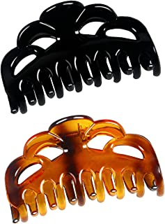 ACCGLORY Large Plastic Hair Clips for Women Thick Hair Claw Clamps(Arc-Black+Brownish Red-M)