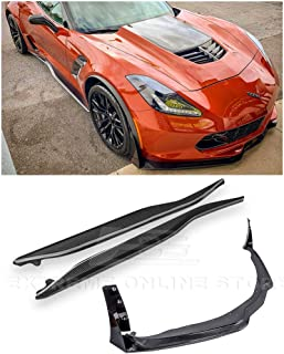 Replacement For 2014-2019 Corvette C7 ALL Models | Z06 Stage 3 CARBON FIBER Front Bumper Lip PAINTED CARBON FLASH Side Extension Winglets & Side Skirt Rocker Panels COMBO KIT