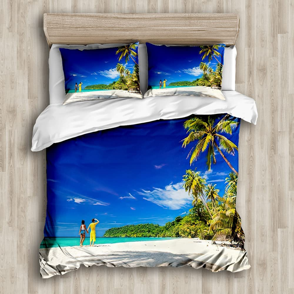 TiuZelf Tropical Palm Tree Duvet Cover Loving B Set Now free shipping Recommendation Sandy Couple