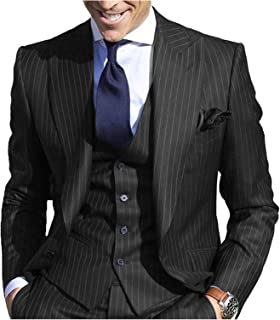 Men's Pinstripe Suit Slim Fit Stripe Peaked Lapel Jacket Vest Pants Sets