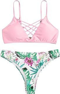8f4f6e2396 SweatyRocks Women's Bathing Suit Adjustable Spaghetti Strap Floral Print Criss  Cross Bikini Set