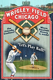 Chicago, Illinois - Wrigley Field Vintage Sign (9x12 Art Print, Wall Decor Travel Poster)