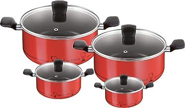 Tefal B3139262 Chef De France Cookware Set - 8 Pieces, Aluminium, Red