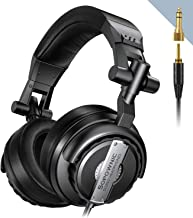 Sopownic Over-Ear DJ Headphones, Prefessional Studio Monitor Mixing DJ Headset with Stereo Sound for Electric Drum Piano Guitar AMP, 50mm Neodymium Drivers