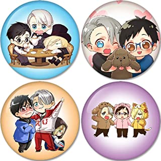 Yuri On Ice Set no.5 Chibi Buttons Badges/Pin 1.25 Inch (32mm) Set of 4 New Buttons