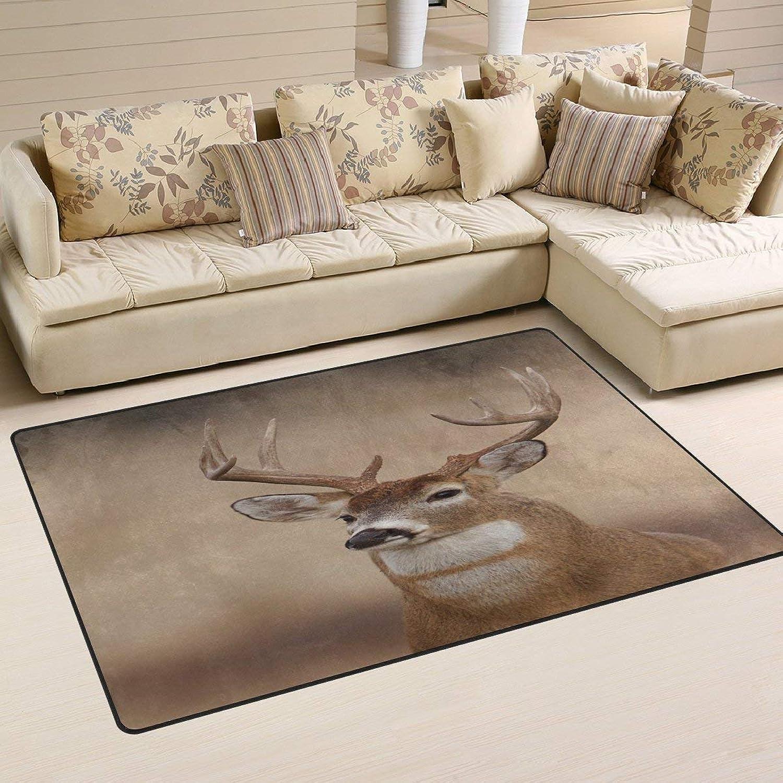 Vintage Whitetail Buck Deer Area Rug Floor Mat Rug Indoor Front Door Kitchen and Living Room Bedroom Mats Rubber Non Slip