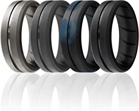 ROQ Silicone Ring for Men - Breathable Silicone Rings with Comfort Fit Air Flow Design - Comes in 1/4/6 Packs - Mens Silicone Rubber Medical Grade Bands - Safe Silicone Wedding Ring for Men