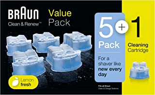 Braun Clean and Renew Refill Replacement Cartridges for Electric Shaver, 5+1 Pack