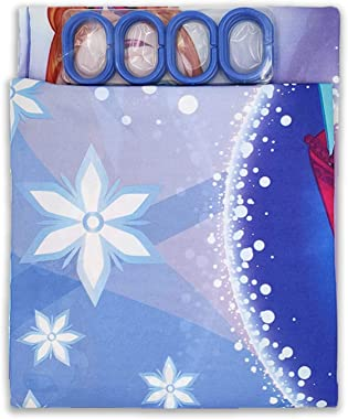 Sassoon Printed Frozen Waterproof Polyester Bathroom Curtains for Kids Bath with 12 Hooks, Colorful Shower Curtain