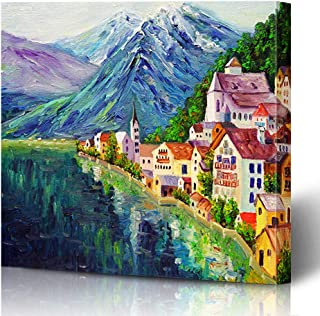 Ahawoso Canvas Prints Wall Art Printing 10x8 Watercolor Canvas Oil Painting Hallstatt Austria Parks Colorful Pastel Vibrant Mountains Europe Painting Artwork Home Living Room Office Bedroom Dorm