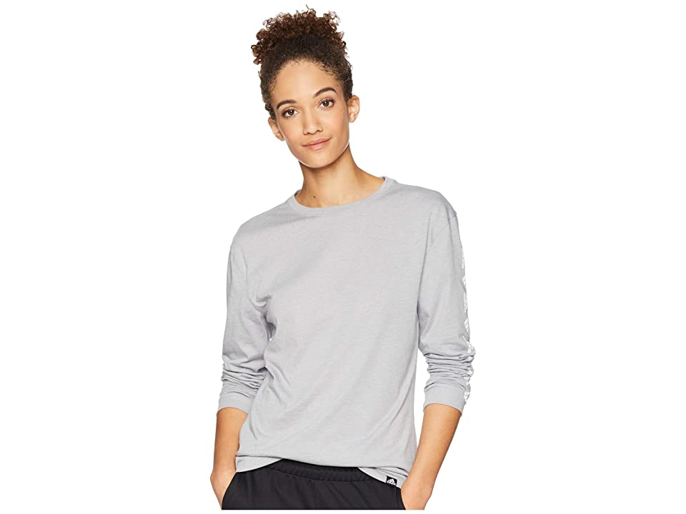 adidas Badge of Sport Moto Long Sleeve Tee (Medium Grey Heather) Women