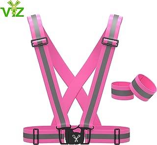 247 Viz Reflective Vest with Hi Vis Bands, Fully Adjustable & Multi-Purpose: Running, Cycling, Motorcycle Safety, Dog Walking - High Visibility Neon Green, Orange & Pink