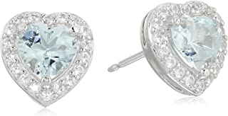 Sterling Silver Birthstone and Created White Sapphire Halo Heart Stud Earrings