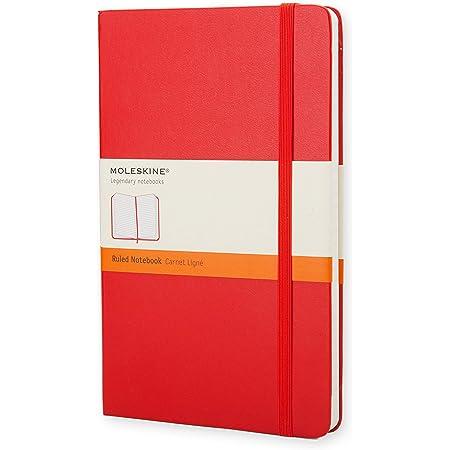 Moleskine Classic Notebook, Taccuino a Righe, Copertina Rigida e Chiusura ad Elastico, Formato Large 13 x 21 cm, Colore Rosso Scarlatto, 240 Pagine