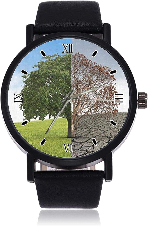Two Styles of Trees Ultrathin Hombres Mujeres Relojes de Pulsera Negocios Casual Deporte Reloj de Cuarzo para Mujeres Hombres Impermeable Reloj Unisex