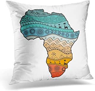 SPXUBZ Colorful Blots Map of Africa Ethno Pattern Tribal Abstract Colored Boho Cloth Decorative Home Decor Square Indoor/O...