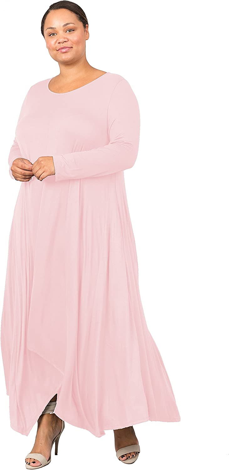 Love In Women's Superior Plus Size Long Dre Flared Sleeve Maxi Neck Round Seattle Mall