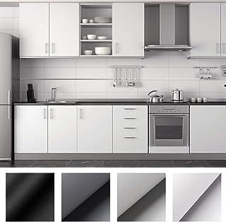 KINLO 0.61 x 5M per Rollo Papel Pintado Pared Adhesivo Impermeable de Blanco Mate Aumento del Grosor Pegatina Autoadhesiva de PVC para Decorar Pared Muebles Aparador Dormitorio, a Prueba de Agua