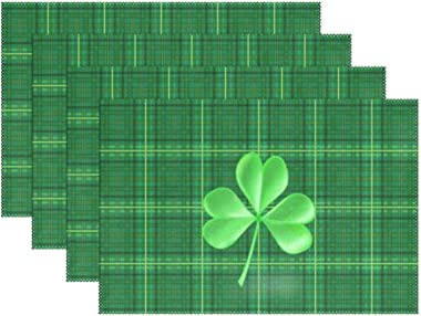 Naanle Green St Patrick's Day Shamrock Clover Plaid Placemats Set of 6 Washable Table Mat for Kitchen Dining Table 12 X 1