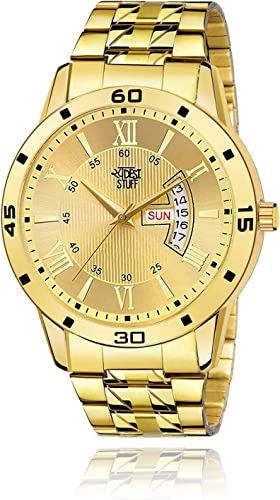 Analogue IPG Gold Dial Day Date Display Analogue Watch for Men and Boys