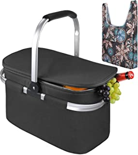 Tirrinia Large Insulated Picnic Basket, 26L Leakproof Collapsible Portable Cooler Basket Set with Aluminium Handle for Travel, Shopping, Camping, Attach with a Free Foldable Grocery Bag, Black