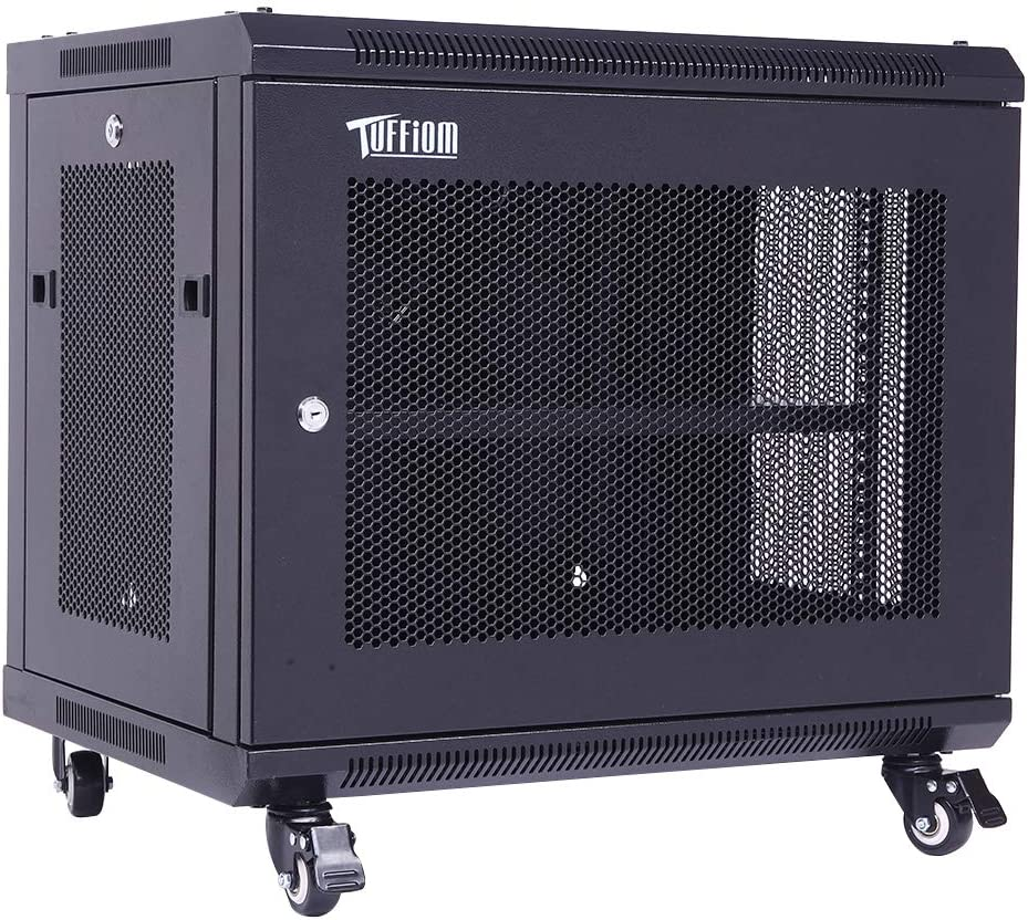 TUFFIOM 9U Casters Network Cabinet Enclosure, Wall Mount Rack w/Wheels, Deluxe 19 inch IT Series Server Date Devices (Fully Assembled, Cooling Fan, Locked Door,Adjustable Mounting Rails)
