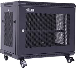 TUFFIOM Upgraded 9U Casters Network Cabinet Enclosure, Wall Mount Rack w/Wheels, Deluxe 19 inch IT Series Server Date Devices (Fully Assembled, Cooling Fan, Locked Door,Adjustable Mounting Rails)