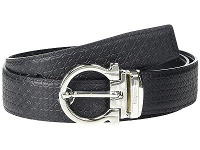 Salvatore Ferragamo Adjustable Reversible Belt 67A258 (Black/Black) Men