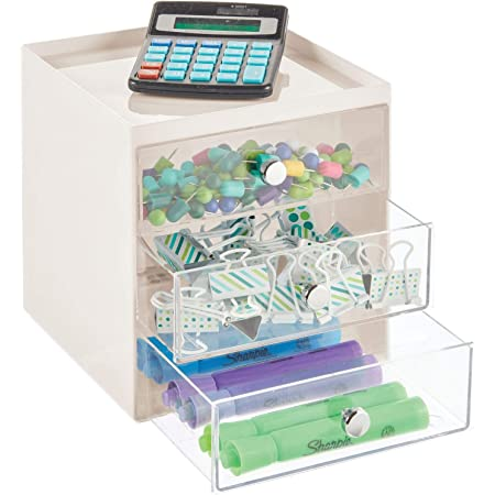 mDesign Home Office Erasers Desk Organizer Storage Station for Storing Gel Pens Use Vertically or Horizontally Markers Tape 3 Drawers Cream//Clear Push Pins Pencils Space Saving