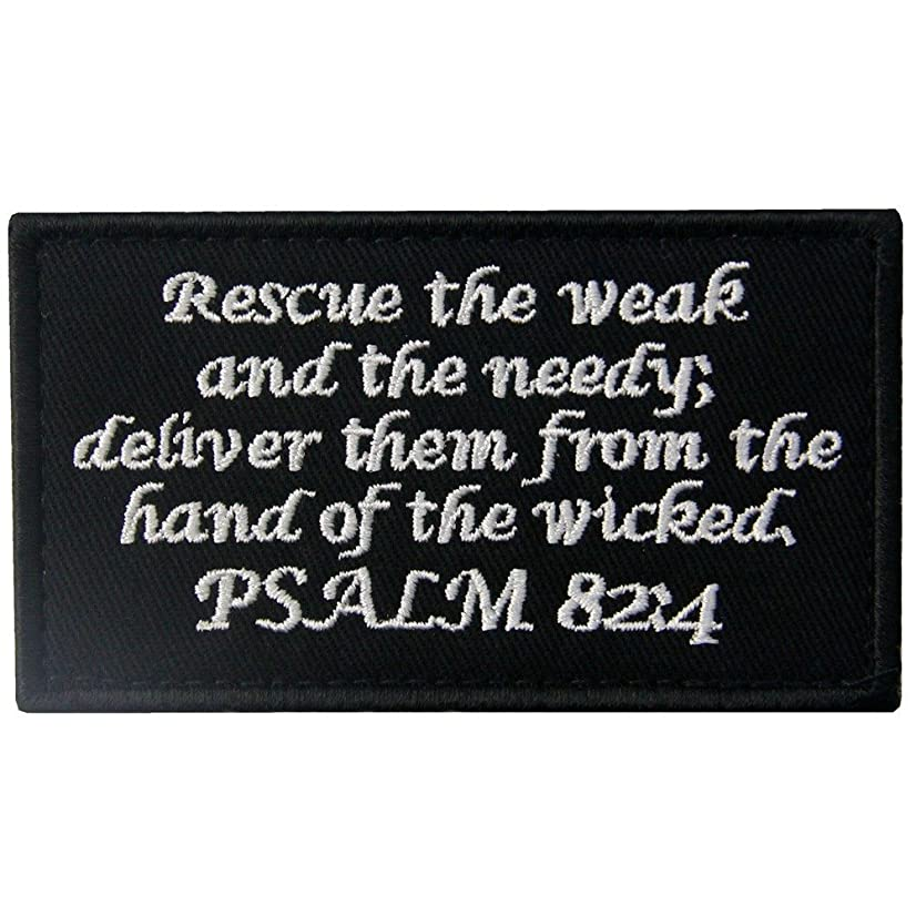 Tactical Psalm 82:4 BNW Patch Combat Badge Morale Applique Embroidered Fastener Hook & Loop Emblem