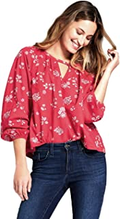 Women's Long Sleeve Printed Woven Top