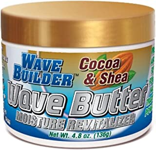 WaveBuilder Cocoa & Shea Wave Butter | Added Moisture and Shine Promotes Hair Waves, 5.1 oz