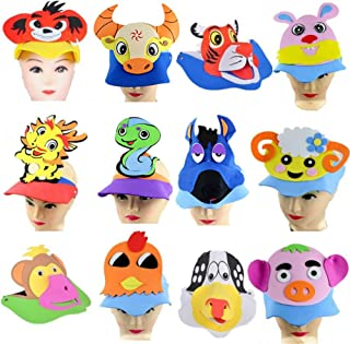 Remeehi Halloween Animal Hat Fancy Dress Party Costume Cap Party Decor for Kids Caps Adults Kids Cosplay A Set of Both 12Pcs