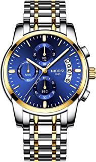NIBOSI Chronograph Men's Watch (Blue Dial Gold & Silver Colored Strap)