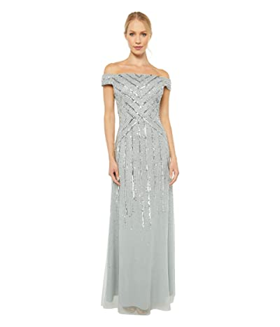 Adrianna Papell Off-the-Shoulder Beaded Gown (Frosted Sage) Women