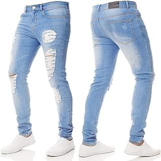 Farjing Men's Trousers Clearance,Men Slim Biker Zipper Denim Skinny Frayed Pants Distressed Rip Jeans