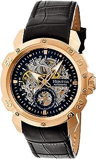 Reloj de pulsera automático con esqueleto y correa de piel