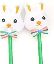 Bunny Pens Easter Party Favors, White Rabbit Plush Top Kids Goody Bag Stuffers Basket Filler Birthday Supplies Decorations 12 Pack